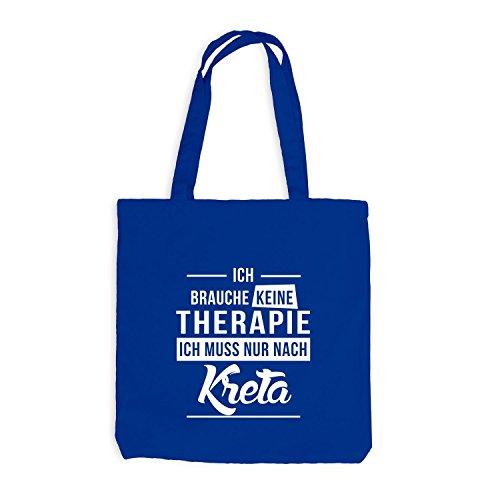 ShirtFlow Jutebeutel Ich brauche keine Therapie - Kreta, Royalblau