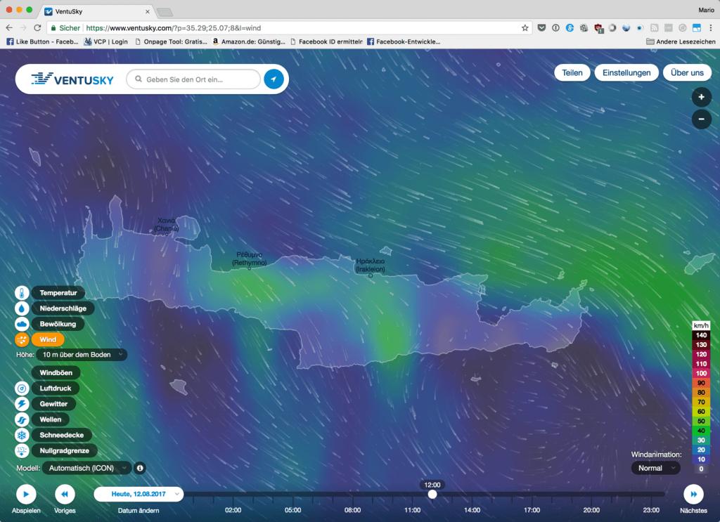Screenshot VENTUSKY, Wind auf Kreta