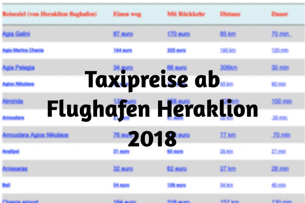Taxipreise ab Flughafen HER 2018