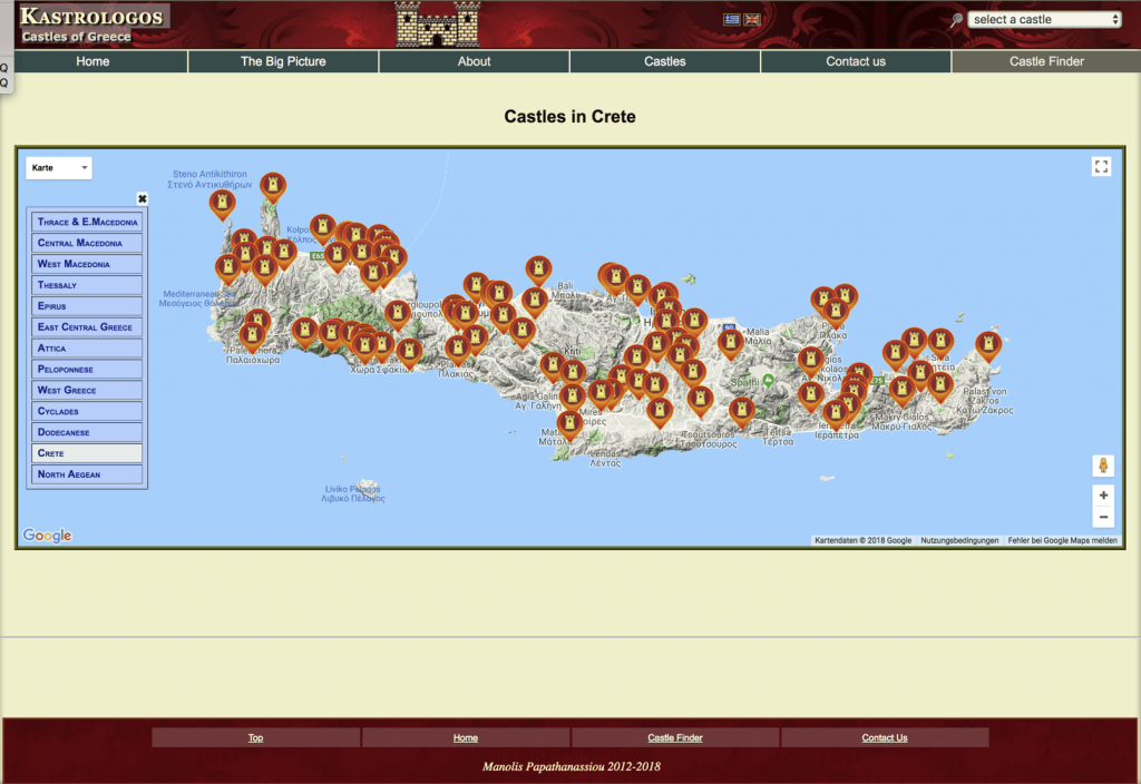 Screenshot der Webseite Kastrologos - Castles of Greece